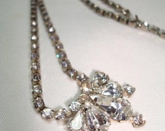 1990 Tear Drops Rhinestone Necklace.