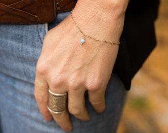 Opal Bracelet, Dainty Opal Bracelet, Blue Opal Bracelet, Simple Gold Bracelet, Thin Gold Bracelet, October Birthstone, Bridal Opal Bracelet