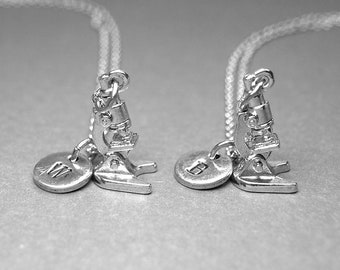Best friend necklace, microscope necklace, laboratory microscope, lab microscope, bff necklace, friendship jewelry, initial necklace