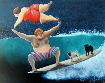 "Pug Art Print of an original painting, ""Family Day"",Dog Art,8""x10"",surf art"