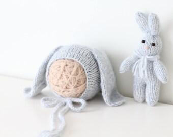 Newborn rabbit - Newborn props - Photo prop rabbit - Newborn set - Photo prop boy - Newborn beat hat - photography prop -Baby boy-Light blue