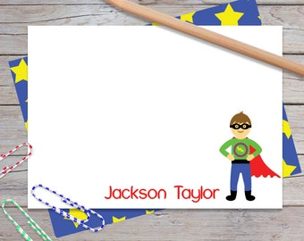Personalized Note Cards for Boys, Superhero Boy, Kids Custom Thank You Notes, Stationery Set, Blank Stationary, Notecards (Item #1708-013FL)