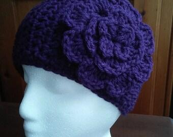 Womens Crochet Purple Ear Warmer, earwarmer, Headband with Flower