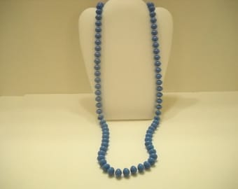 "Vintage 30"" Single Strand Royal Blue Necklace (1573)"