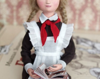 """Art doll styled USSR, soviet pioneer retro russian collectible - art OOAK doll """"Tanya"""", back to school - 7 inch"""