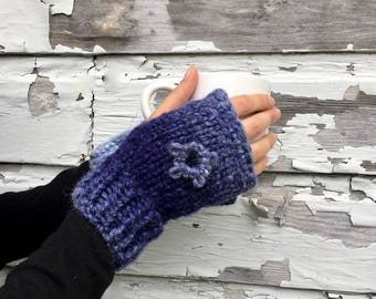Ombre Blue Fingerless Gloves   Optional Matching Scarf