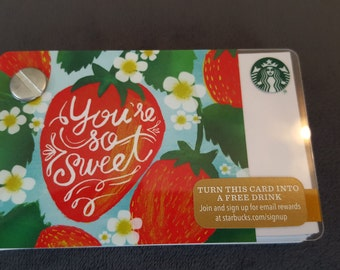 Starbucks Upcycled Refillable Giftcard Notebook - 2015 You're So Sweet Strawberries