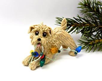 Glen of Imaal Terrier Wheaten Porcelain Christmas Ornament Figurine Lights