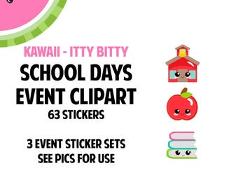 NEW! KAWAII Itty Bitty School Days Event Clipart | Track Teacher Conference,School Events,Class Projects | 63 Die-Cut Stickers | IB011