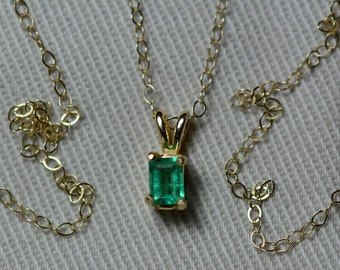 """Small Emerald Necklace, 14K Yellow Gold Colombian Emerald Pendant 0.13 Carat, May Birthstone, 18"""" Gold Chain, Green Emerald Cut Jewelry"""