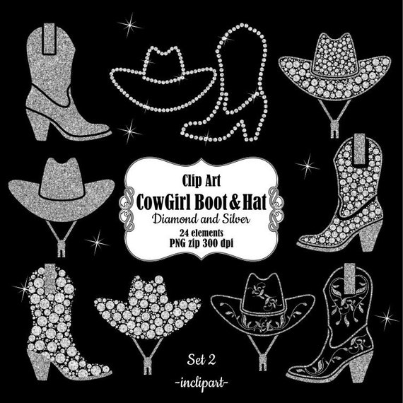 CowBoy Hat Clipart CowGirl Boot Digital Silver Western Wedding Party Instant Download PNG Format Business Use From Inclipart