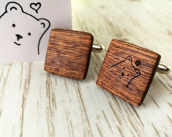 Children's Drawing cufflink Personalised gift. Father of the bride cufflinks. Wooden Cufflinks.  Wedding cufflinks. Mahogany cufflinks