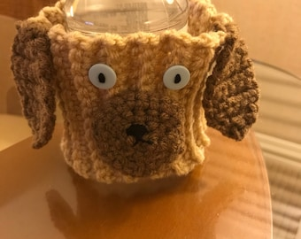 Brown puppy mug hug