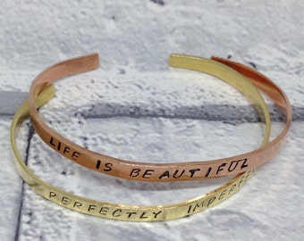 custom skinny cuff bracelet, mantra bracelet, quote bracelet, personalised cuff bracelet, minimalist bracelet, personalised jewellery, yoga