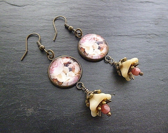 Cabochon image earrings and glass beads