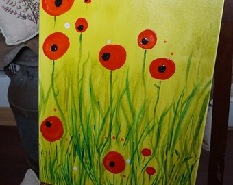 Mixed Media On Canvas. Last Night I Dreamt Of Poppies. 18x24