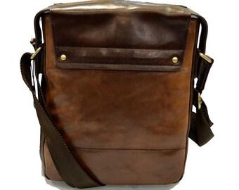 Leather shoulder bag satchel mens leather bag ipad tablet bag dark brown luxury bag crossbody hobo bag