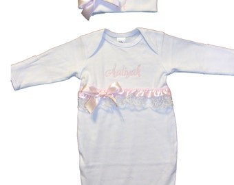 Personalized White Cotton Infant Gown Light Pink Ribbon & Lace Trim and Bows