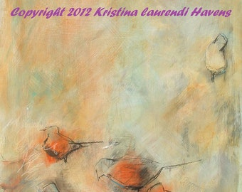 Orange Birds in Fall - Large Open Edition Fine Art Print - Mixed media Painting of Birds