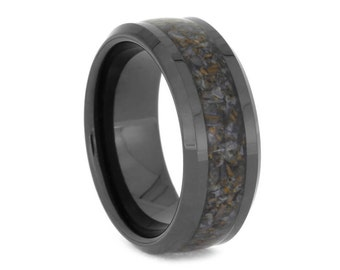 Black Ceramic Wedding Band With Crushed Dinosaur Bone Inlay, Fossil Ring, Signature Style