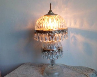 Crystal Table Lamp, French Boudoir Lamp, Shabby Cottage Chic Lighting