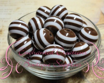 20mm Brown and White Striped Beads Qty 10