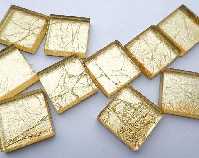 Gold Foil Square Crystal Tiles - 7/8 inch - Light Gold Crackle - 25 Glass Tiles