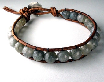 Ethereal - Labradorite and Leather Bracelet