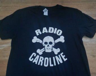 Radio Caroline Printed Short Sleeve T-shirt Top. Rare Mod 60s Vintage Style Pirate Radio Station Sixties Skull And Crossbones