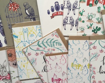 Lucky Dip! 6 mixed illustrated greetings cards, assorted card pack