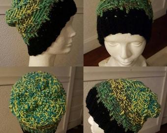 Woman's verigated green beanie