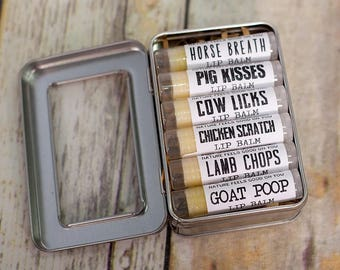 6 Organic Farm Animal Themed Lip Balms ~ Gifts for Farmers, Mothers Day Gift idea, Fun Present for Dad, Birthday Presents, For Animal Lovers