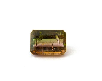 Yellow Green Pink Tourmaline Faceted Gemstone 6.5 ct 8.8x12.7x6.5 mm Free Shipping