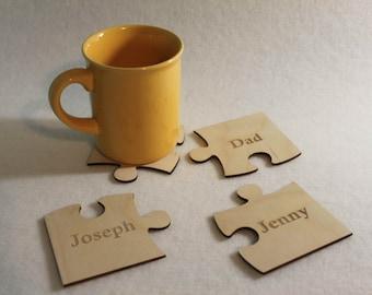 Custom Personal Unique Registered  Designation Plywood Coaster Puzzle Shape Quadrat  Set of 4 Wine, Water, Tea or YOUR NAME !!!