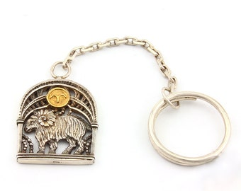 Silver Aries Keychain, Aries Key Chain Holder