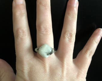 Marbled stone silver wire wrapped ring