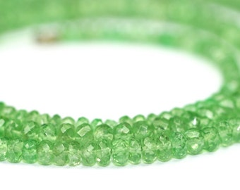 Tsavorite Garnet Micro Faceted Rondelles 5 or 10 Translucent Green Semi Precious Gemstone January Birthstone