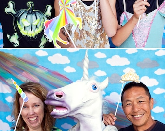 Rainbows and Unicorns Printable PHOTO BOOTH PROPS - Editable Text >>Instant Download   Paper and Cake