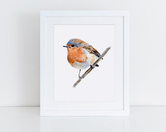 Robin Print, Wall Decor, Bird Lovers Art, Watercolor