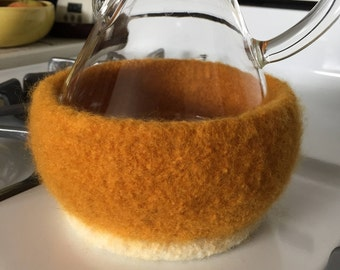 Gold and Cream Felted Cozy for 6-Cup Chemex Coffee Brewer