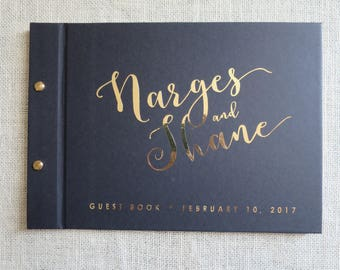 Narges Gold Foil + Black | Custom Made Guestbook | Personalised Guestbook |  Weddings | Engagements | Parties | Birthdays | Australia Seller