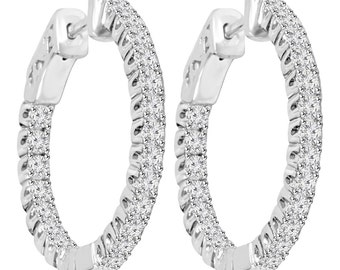 "Diamond Inside Outside Hoops VS 1.31CT Diamond Inside Outside Hoops 14K White Gold Vault Lock 1"" Tall"