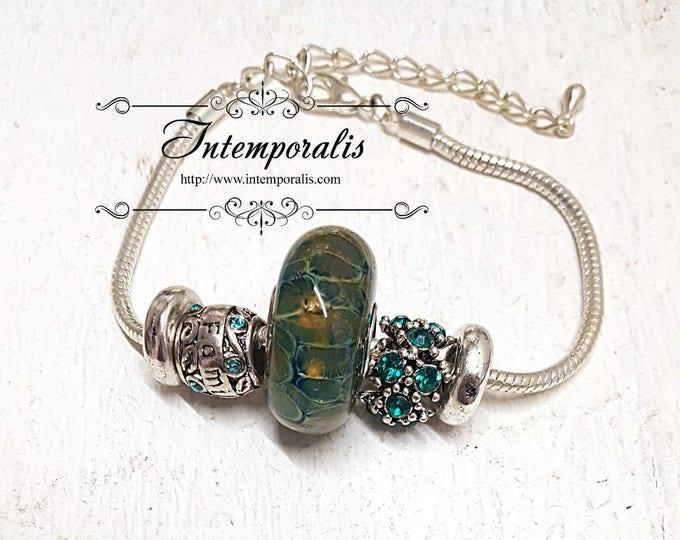 Iridescent green lampwork bead charm bracelet, european style bracelet , OOAK, SABRLW02