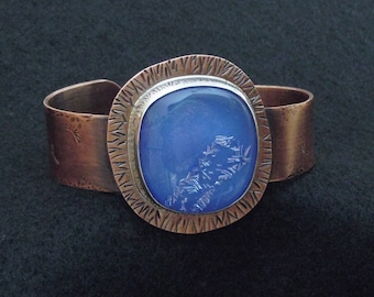 Copper Silver Cuff bracelet with Dichroic Glass