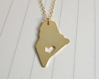 Gold Maine State Necklace,ME State Necklace,Maine State Charm Necklace,State Shaped Necklace  With A Heart