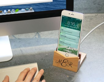 Personalized Bamboo Phone Dock | Charging Dock | Iphone | Android | Gift Ideas | For Her | For Him