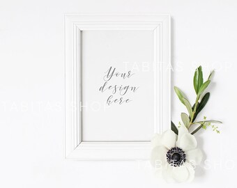 4x6 DIGITAL White Frame Mockup, Portrait, Stock Photo, Styled Photography, Mock up, prints, illustration, quote, poster, INSTANT DOWNLOAD