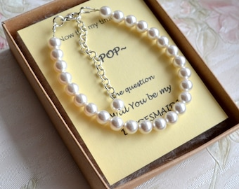 Bridesmaid gift set of 6 Bridesmaid Pearl bracelet set of 6 Simple pearl jewelry Ivory Off white bracelet Wedding jewelry Bridal bracelet