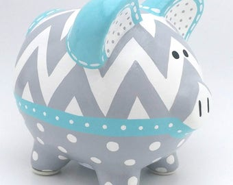 Chevron and Polka Dot Personalized Piggy bank in Aqua Blue and Grey