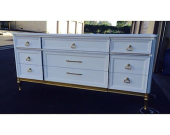 Mid Century Modern Gold and White vintage Dresser, Nightstands, Changing Table, Buffet, Credenza, bedroom furniture